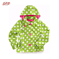 Green and white polka dot winter coat children with hat