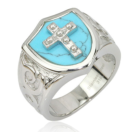 New Arrival Vintage Stainless Steel Men's Casting Rings with Cross Charms Blue Effecive Jewelry ZZR100