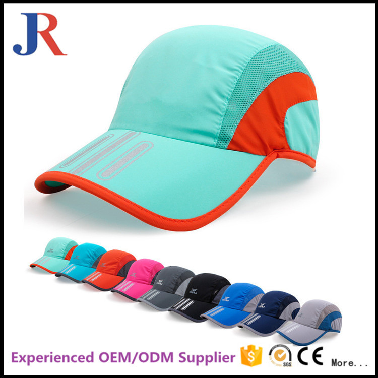 jiangrun china factory good quality custom logo quick-dry sport running baseball cap with plastic buckle