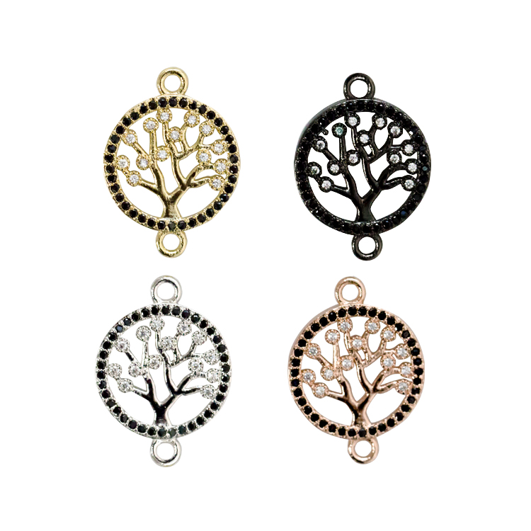 women jewelry 2020 new arrivals round gold CZ micro pave connector tree of life charm pendant