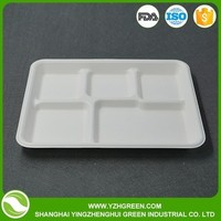 Biodegradable 5 Compartment Plastic And Paper Food Serving Tray
