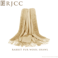Fashionable Wool Shawl with Rabbit Fur in Multi-colors