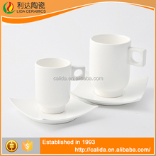 New arrival durable mugs white porcelain modern LM689 bone china cup and saucer with great price