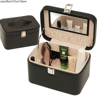 popular pu leather toiletries handle cosmetic box cosmetic case