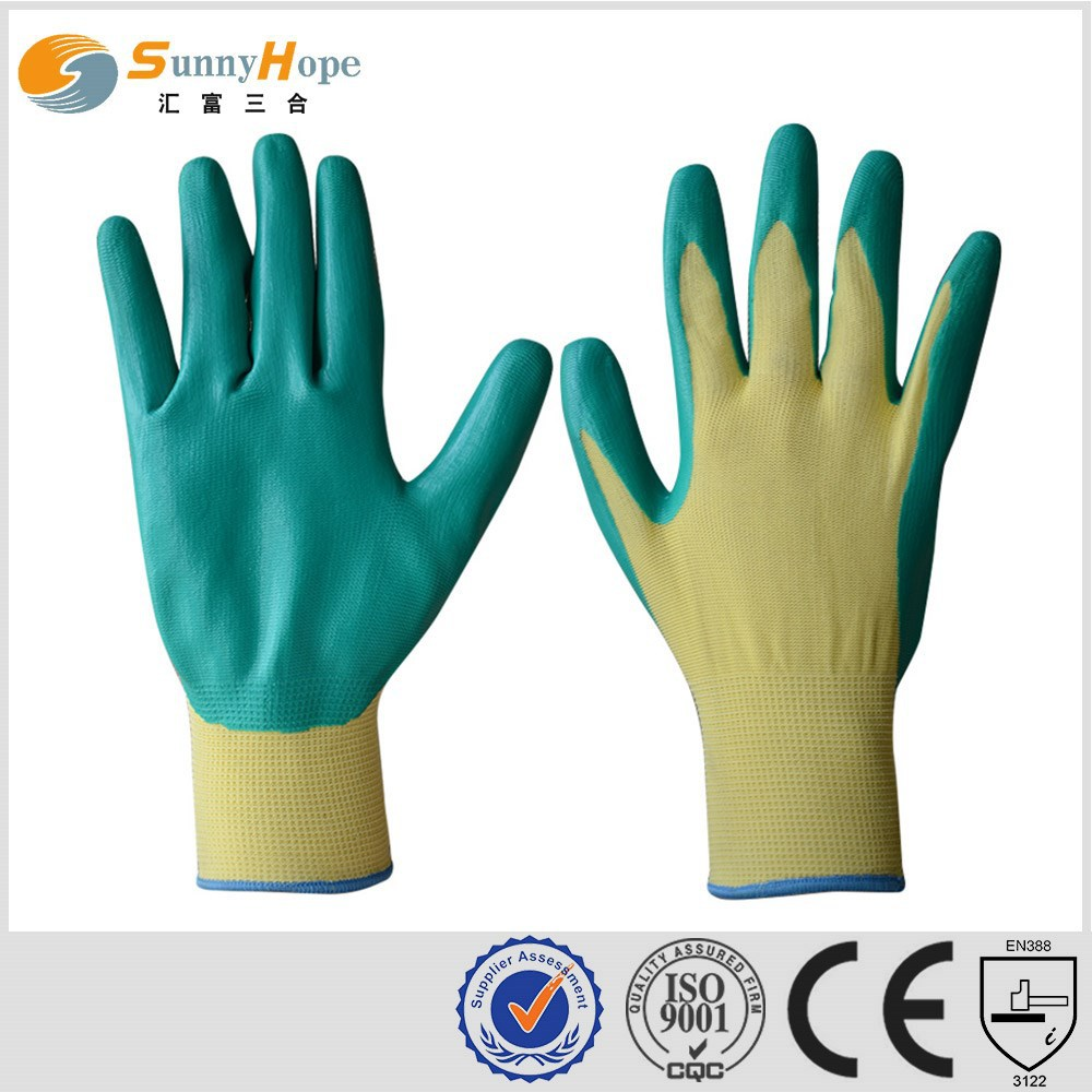 SUNNYHOPE 13gauge Palm Coated Fine nitrile utility gloves