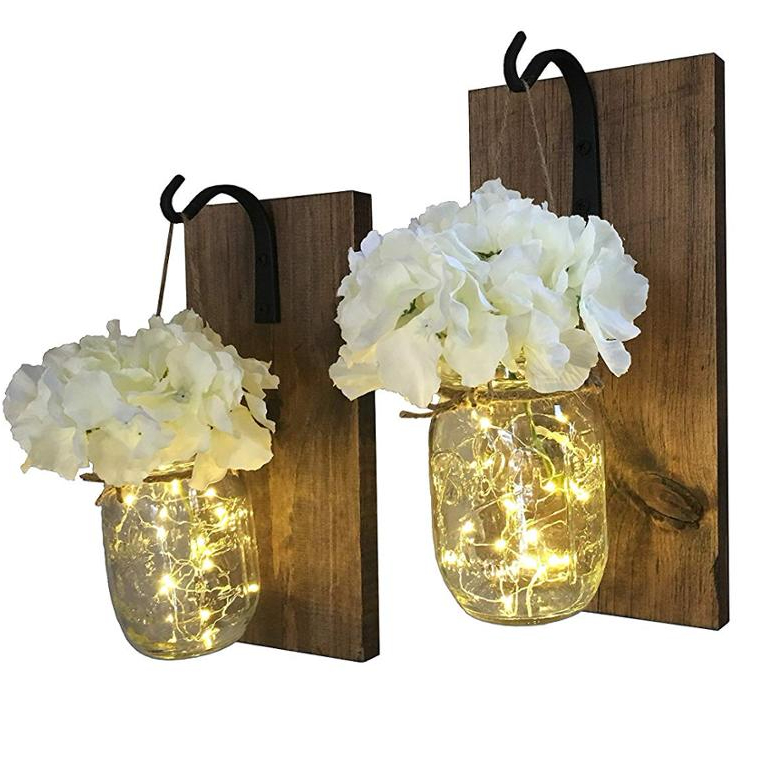 Rustic Hanging with LED Fairy Lights with Wrought Iron Hooks Outdoor Decor
