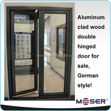 Energy saving solid wood with aluminum cladding hinged door from China alibaba
