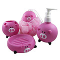 ICTI certificated custom made vinyl pig toy shape bathroom accessory set