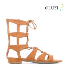 OLNS018 Young ladies gladiator sandals lace up Apricot flat heel sandals for lady Beautiful flat heel sandals shoes