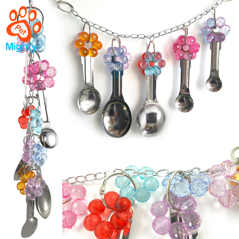 Metal Spoons String Crystal Birds Toy Parrot Hanging Chewing Toys for Parrots Large Bird Chew Toy