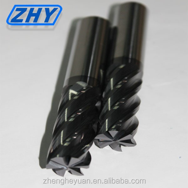 ZHY high quatity coating high feed square <strong>carbide</strong> 6 flutes end mill