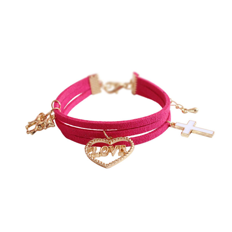 Handmade Leather Rope Multilayer Unicorn Plated Gold Alloy Charm Bracelet