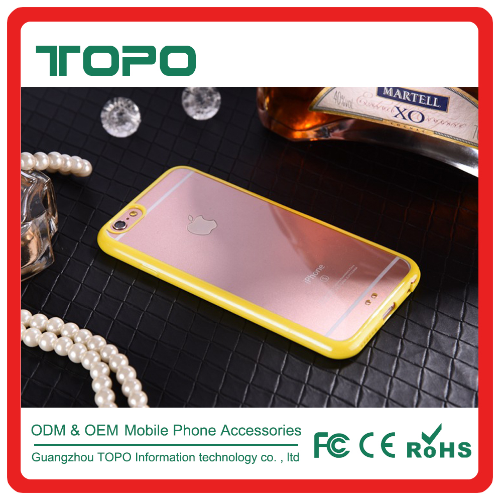 TOPO Ultra-Thin Clear Back hard plastic soft TPU Bumper candy color 2 in 1 PC TPU Soft phone cover for iphone 6 6s 7 plus