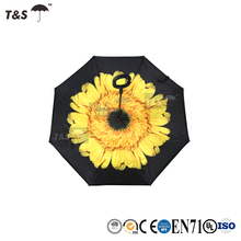 Tianshuo best windproof folding metal shaft waterdrops Uv protection safe hot selling double layer inside out reverse umbrella