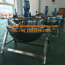 Stainless steel Industrial Tilting type Steam heating double Jacket kettle cooker with agitator/mixer for jam