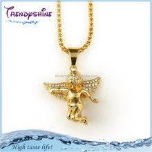 Cheap german gold plated rhinestone angel wing necklace
