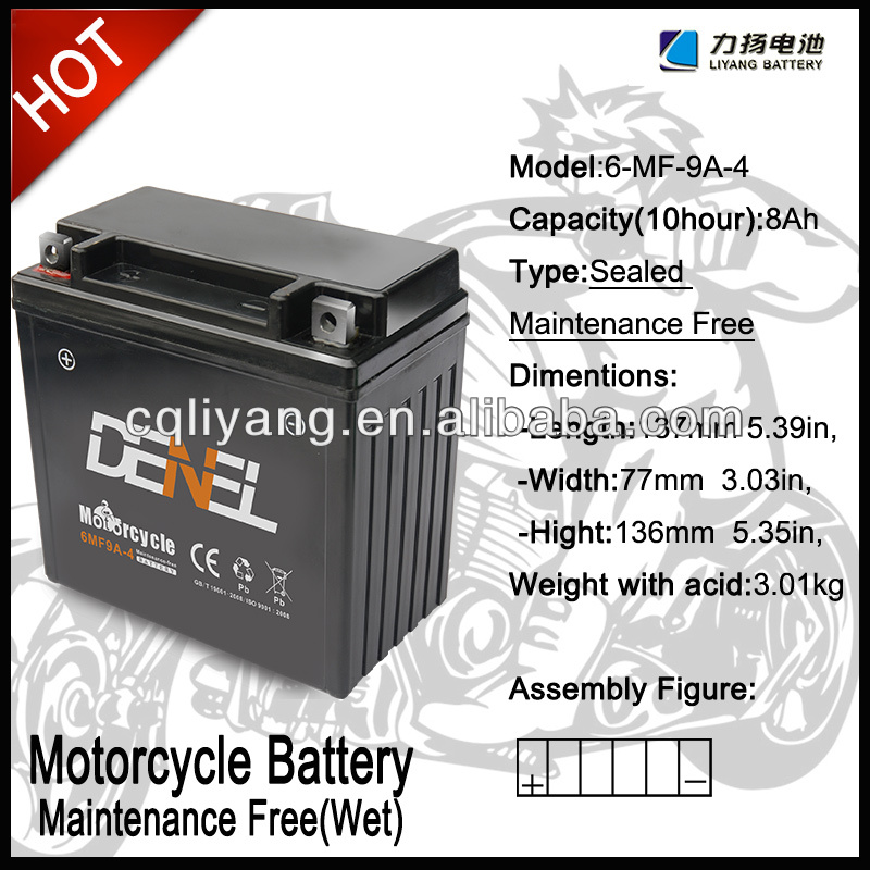 Maintenance Free Lead Acid Electric Motorcycle Battery Pack 12N9-BS(12V 9AH)