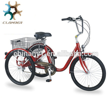 Hot sale adult tricycle with rear basket/6 speeds cargo trike/24 inch 3 wheel pedal bike for older GW7012