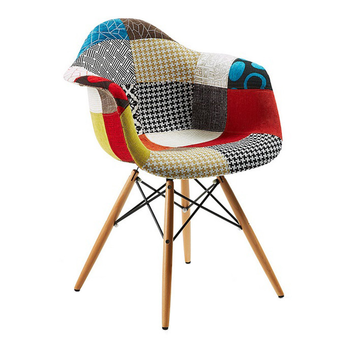 Multicolor Modern Upholstered Emes Style Armchair Fabric CHAIRS Patchwork dining chair with Natural Wood Leg