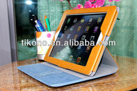 Denim pattern stand leather case for ipad 2 3 4