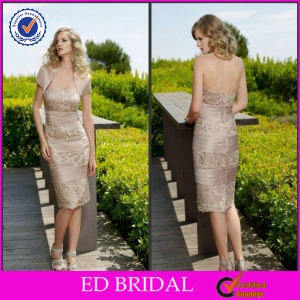 EDM060 Modest Lace Knee Length with Jacket Garden Wedding Mother of Bride Dresses