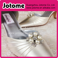Women's shoe Accessories custom silver pearl rhinestone brooch mteal clips on bridal shoes