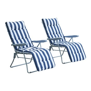 Set of 2 Adjustable Outdoor Garden Patio Foldable Cushioned Seat Sun Lounger