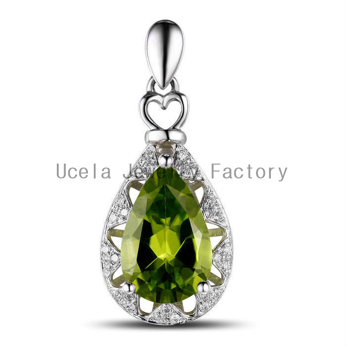 Cheap Pear Peridot and synthetic Diamond necklace saint christopher necklace