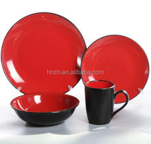 ceramic 16pcs round shape two tones dinnerware set stock wholealse