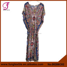 08206C02 Woman Summer Cotton V Neck Bat Sleeve Dubai Moroccan Dress Kaftan