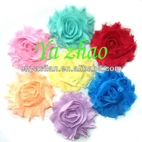 2.5'' Chiffon Shabby Rosette Flowers Wholesale 12 Color IN STOCK