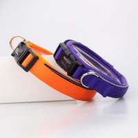 C502 New Soft Safety Pet Collar and Leash Reflective Neoprene Nylon Webbing Dog Collars for walking
