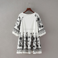 S30366A KOREA FASHION ANTIQUE RAMIE COTTON EMBROIDERED BIG SIZE DRESS