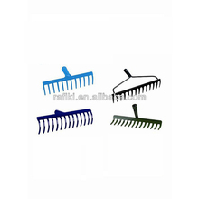 14 teeth steel rake with long fiber glass handle/bow rake