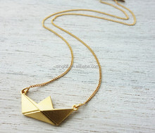 Short Paper Boat Necklace Origami Nautical Jewelry