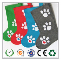 Promotion cute 4 colors Pet Paw felt Christmas Stocking for Dog or Cat