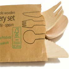 disposable 6'' wooden cutlery sets, mixed wooden cutlery paper packed cutlery kit