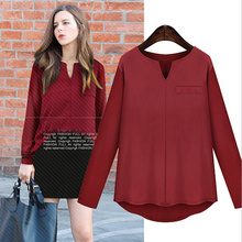 WA2488 New asymmetric v-neck shirt with long sleeves fake pocket women blouses