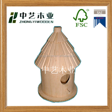 Professional garden outdoor unfinished round wooden bird house for sale