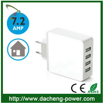 Factory hotly selling 4 port usb wall charger 5V 7.2A for phone ipad( EU Plug)