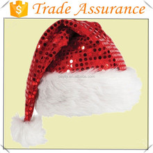 2014 hot sale sequin father christmas xmas party santa fancy dress costume hat
