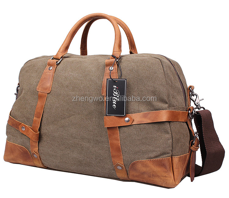 Iblue D005 Vogue Mens Canvas Sports Duffel One Day Travel Leather Bag