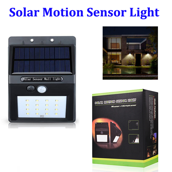 16 LED Solar Motion Sensor Light, Wireless LED Garden Security Home Light