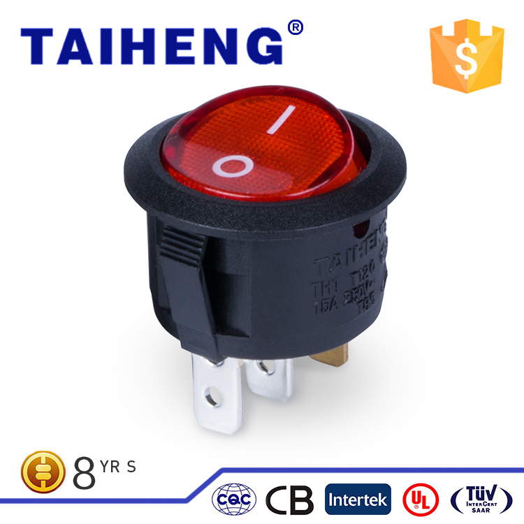 Taiheng luminous 15A 250VAC/15A 125VAC electrical rocker switch t85