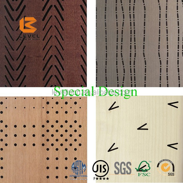 Graceful Anti Fire-proof Groove Perforated MDF Timber Wooden Acoustic Panels Soundproof Absorbing Materials