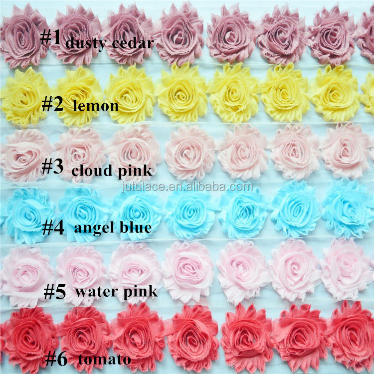 Total 108 SOLID COLORS beautiful wholesale rosettes flower- fabric flowers for wedding dresses decoration