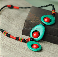 Fashion Handmade Necklace,2014 Fashion Jewelry Mexico,Promotional Wood Bead + Stone Necklace Fashion Jewelry