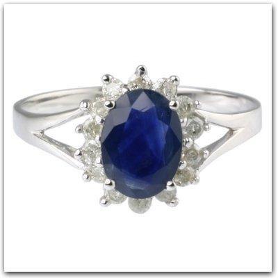 blauer saphir des weisses gold6k u diamant ring ring. Black Bedroom Furniture Sets. Home Design Ideas