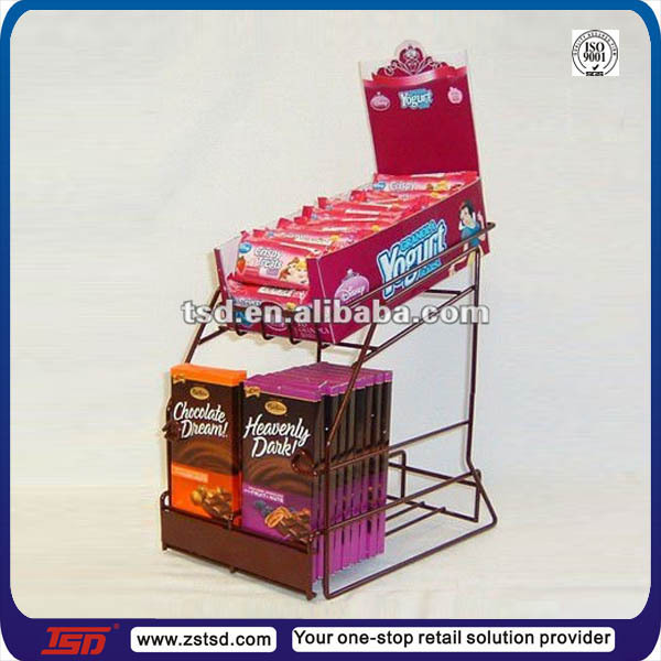 TSD-M562 retail store small metal chocolate display rack ,snacks food table top display shelves,wire countertop display rack