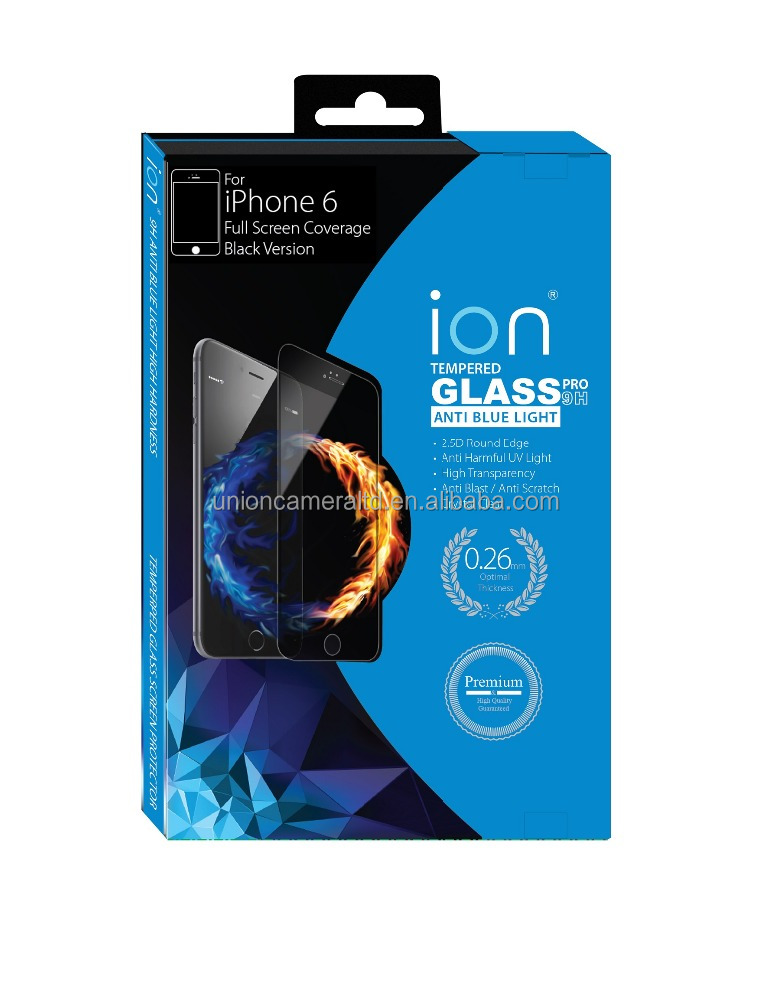 ION Anti Blue Light Tempered Glass Screen Protector for iPhone 6 (Full Coverage Black Version)